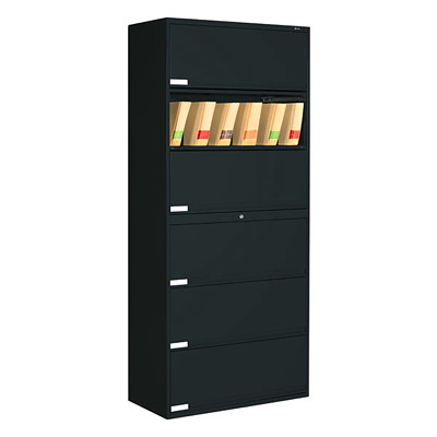 Global 9100 Plus Series 6-High End Tab Filing Cabinet BLACK  GLOBAL