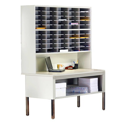 Mayline Kwik-File Mail Sorter with Table SORTER AND SORTING TABLE WITH SHELF  PEBBLE GREY  BIRCH