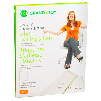 Grand & Toy White Mailing Laser Labels 1/SHEET 100/BOX