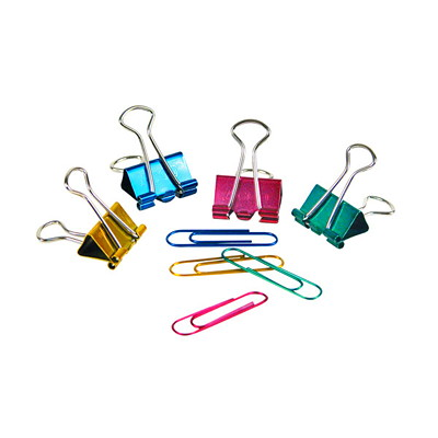 """Swingline Clips to Go! Binder and Paper Clips 100 PAPER CLIPS AND 15  3/4"""" BINDER CLIPS  GRN PNK BLU GOLD"""