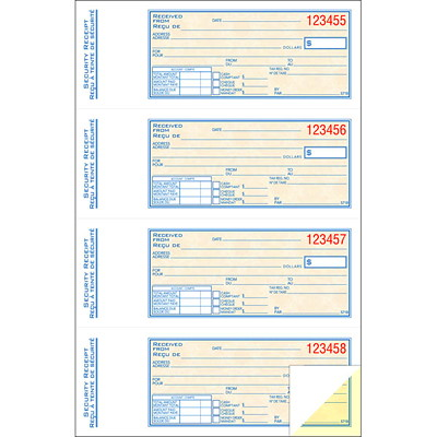 "Adams Security Receipt Book, 4/page, 200 receipts 2PT 200 DUPLICATES  CARBONLESS BILINGUAL 7-5/8"" X 10-7/8"""