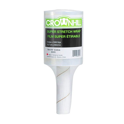 "Crownhill Super Stretch Handheld Pallet Wrap 5"" X 1000' HAND HELD ROLLER"