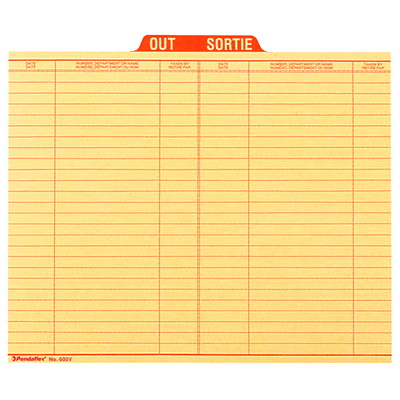 Pendaflex Bilingual Sign Out Guide RED BOTH SIDES COLUMNS FOR DATE  10% PCW