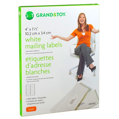 Grand & Toy White Mailing Laser Labels 14/SHEET 100 SHEETS/BX