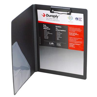 "VLB Duraply Letter-size (8 1/2"" x 11"") Clipboard Portfolio 3 PLY POLY BLACK PVC FREE ACID FREE"