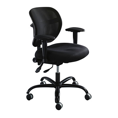 """Safco Vue Intensive Task Chair, Black, Fabric Seat/Mesh Back  BLACK SEAT: 20.5WX20""""D; HT: 18.5-21"""""""