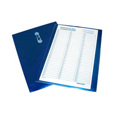 "Winnable Pre-Printed Legal-Size (8 1/2"" x 14"") Poly Inter-Department Envelope WITH TWO ROUTING SHEETS DARK BLUE"