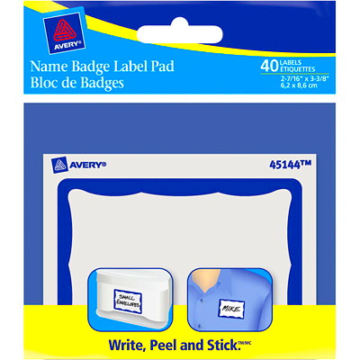 "Avery 2 7/16"" x  3 3/8"" Name Badge Label Pad PAD  BLUE BORDER 2-7/6"" X 3-3/8""  40 LABELS/PKG"