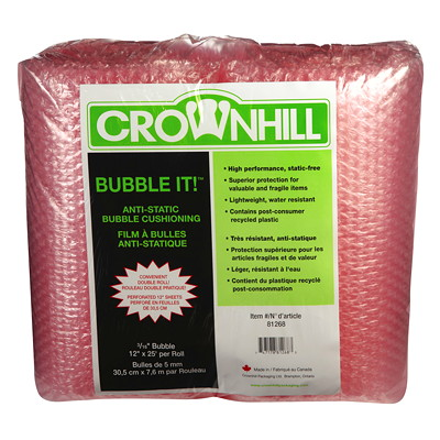 "Crownhill Anti-Static Pink Bubble Wrap Cushioning Rolls 3/16"" 12X25'"