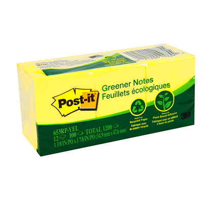 """Post-it Greener Notes, Canary Yellow, 1 1/2"""" x 2"""", 100 Sheets/Pad, 12 Pads/PK 100% REC 30% PCW REMOVABLE 100/PAD RECYCLED SFI CERTIFIED"""
