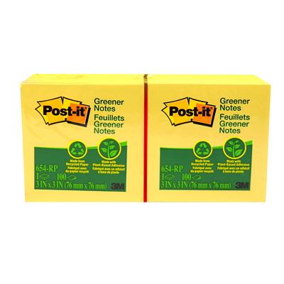 Feuillets écologiques de couleur jaune canari Post-it  100% REC. 30%FPC  100 FEUILLES PAR BLOC  CERTIFIÉ SFI