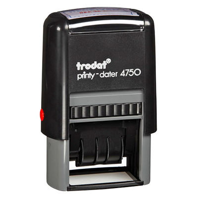 Trodat Printy 4750 Self-Inking Text Dater Stamp PLASTIC FRAME YEAR BAND COVERS 12 YEARS TRODAT