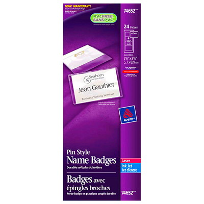 "Avery Pin Style Name Badge Kit, White, 2 1/4"" x 3 1/2"", 24/BX 2-1/4""X 3-1/2"" LASER/INKJET COMPATIBLE 24/BX"