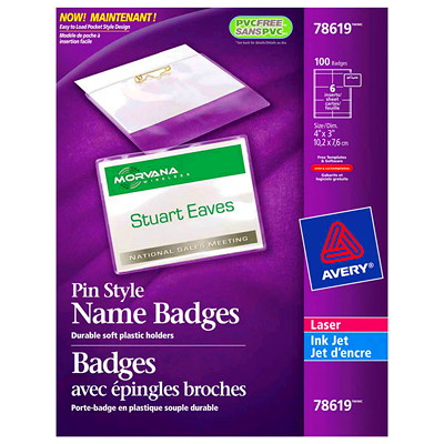 """Avery Pin Style Name Badge Kit, 4"""" x 3"""", 100/BX 100 PLASTIC BADGE HOLDERS 3X4 102 CARD INSERTS 2-1/6X3-1/2"""""""