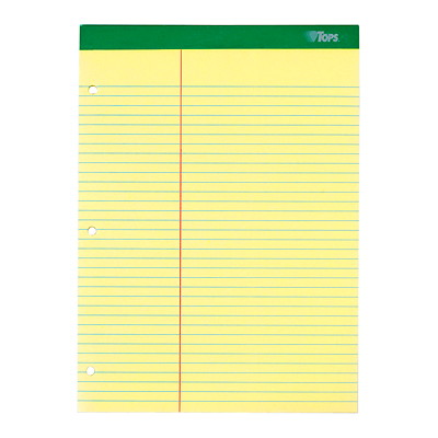 TOPS Double-Docket Writing Pad LAW RULED MICROPERFED CANARY 8 1/2X11 XTRA STIFF BACK 3HP
