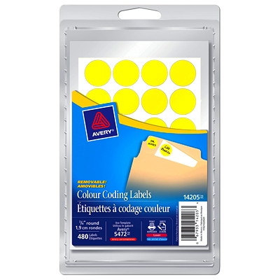 "Avery Removable Round Colour-Coding Labels, Yellow, 3/4"" Diameter, 24 Labels/Sheet, 20 Sheets/PK AVERY 480/PK"