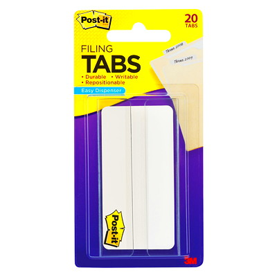 "Post-it 3"" Durable Filing Tabs with On-the-Go Dispenser, 20/Pkg WHITE  3"" X 1.5"""