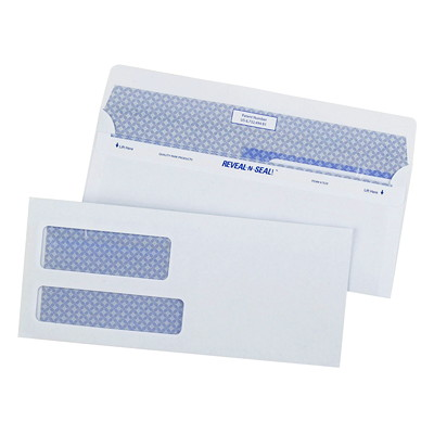 Quality Park Reveal-N-Seal Security-Tinted White Business Envelopes REVEAL-N-SEAL BLUE PARK TINT DESIGN