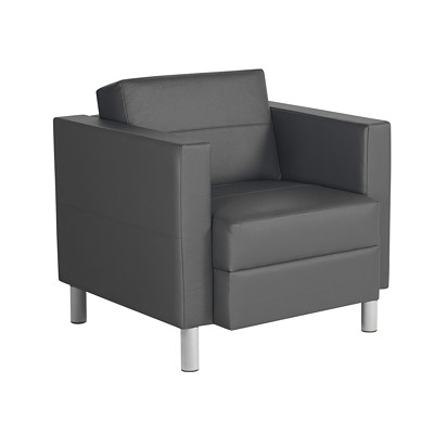 Global Citi Series Lounge Chair, Grey, Faux Leather GRAPHITE LEATHER/MOCK LEATHER