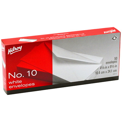 Hilroy Standard #10 Boxed White Envelopes #10 WHITE  50 CT 4-1/8 X 9-1/2