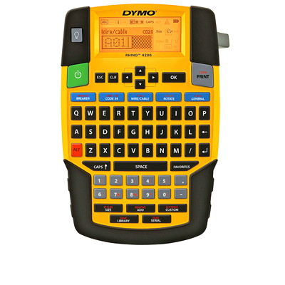 DYMO Rhino 4200 Industrial Handheld Label Maker QWERTY KEYBOARD. LCD DISPLAY PRINTS 2 LINES OF TEXT