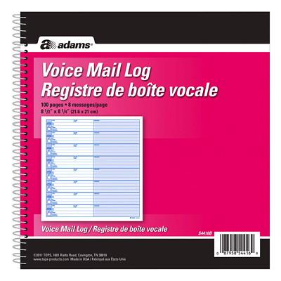 Adams Voice Mail Log Book