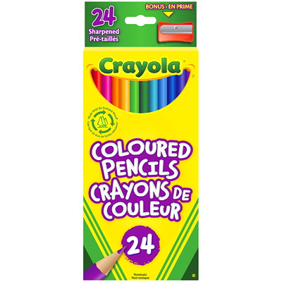 Crayola Coloured Pencils, Assorted Colours, 24/PK PRESHARPENED