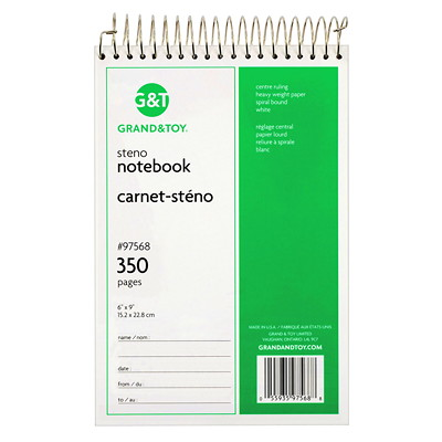 """Grand & Toy Steno Notebook, White, 6"""" x 9"""", 350 pages TOP COIL 350 PAGES"""