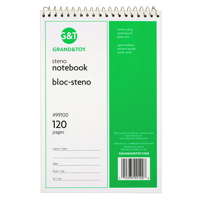 "Grand & Toy Steno Notebook, Green, 6"" x 9"", 120 pages GREEN TINT PAPER RULED BOTH SIDES CENTRE LINE"
