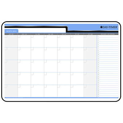 "Day-Timer 30-Day Undated Dry-Erase Calendar, 36"" x 24"", Bilingual BLACK VINYL FRAME  DRY ERASE SURFACE"
