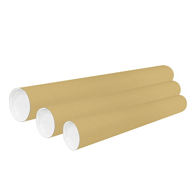 Kraft Mailing Tubes with End Caps  30/CASE