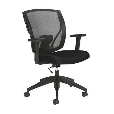 Offices to Go Ibex Task Chair, Black Luxhide Bonded Leather Seat and Mesh Back BLK BONDED LEATHER FULLY ASSEMBLED