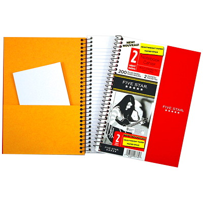 Five Star 2-Subject Wire-Bound Notebook  200 RULED PGS 2 SUBJ 2 PCKTS DURABLE POLY COVER.
