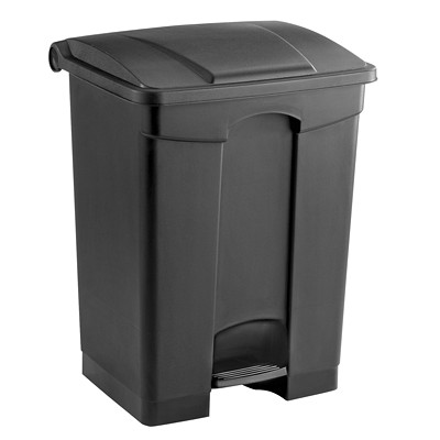 Safco Plastic Step-On Receptacle, Black, 17-Gallon Capacity