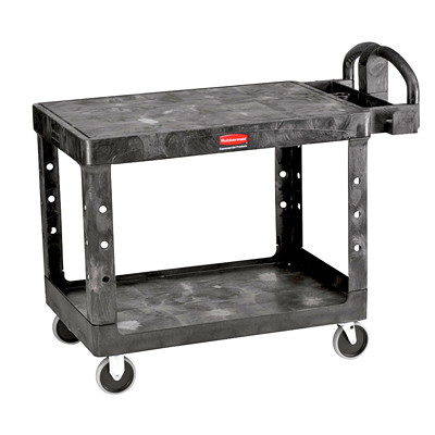 Rubbermaid Flat Shelf Utility Cart 500 LB. CAPACITY  25-7/8IN.W X  43-7/8IN.L X 33-1/3IN.H  BLAC