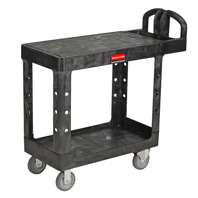 Rubbermaid Commercial Heavy-Duty 2-Shelf Ergo Handle Utility Cart, Black, Flat-Shelf, Small Size, 500 lb. Capacity WITH FLAT SHELF SMALL