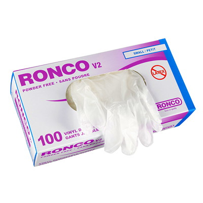 Ronco V2 Vinyl Disposable Gloves, Small, Clear, 100/BX SMALL  100/PK V2 VINYL CLEAR PF