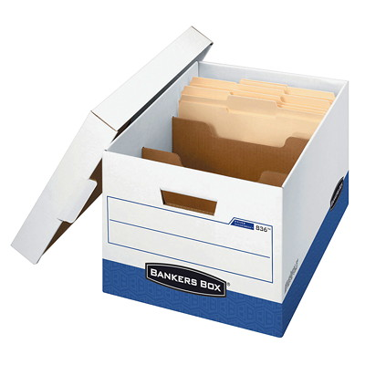 "Bankers Box Letter-Size (8 1/2"" x 11"") DividerBox R-Kive Storage Box  COMPARTMENTS LIFTOFF LID HOLDS UP TO 850LBS 65%REC.59% PCW"