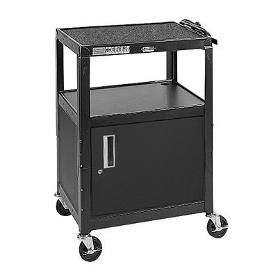 "Quartet Mobile Adjustable Height AV Cart TOP SHELF CAN ADJ. TO 26""/30""/ 34""/38""/42""  3 OUTLET ELEC."