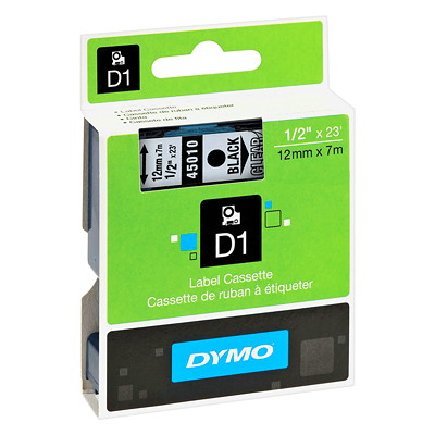 DYMO D1 Label Cassette, Black Type/Clear Tape, 12 mm x 7 m   ELECTR.LABELMAKER 12MM 23 FT DYMO 1000 2000 3500 4500 500
