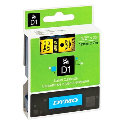 DYMO D1 Label Cassette, Black Type/Yellow Tape, 12 mm x 7 m   ELECTR.LABELMAKER 12MM 23 FT DYMO 1000 2000 3500 4500 500ET