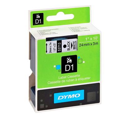 DYMO D1 Label Cassette, Black Type/White Tape, 24 mm x 3 m