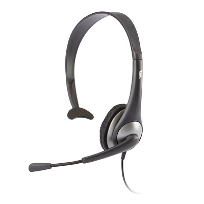 Cyber Acoustics Headset With Boom Mic, Mono 3.5MM 7FT LEATHERETTE CYBER ACOUSTICS