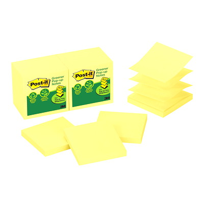 "Post-it Greener Pop-Up Notes, Unlined, Canary Yellow, 3"" x 3"", 100 Sheets/Pad, 12 Pads/PK YELLOW 3"" X 3"" 12 PADS/PACK"