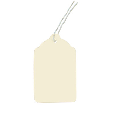 "Coloured Merchandise Tags, White, 1 1/4"" x 1 15/16"", 1,000/CT 10PT  1000/CS  W/STRING 1/8"""