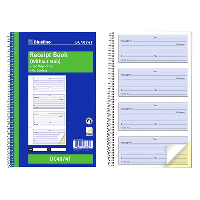 Blueline Receipt Book 200 CARBONLESS DUPLICATES 4 PER PAGE  BILINGUAL