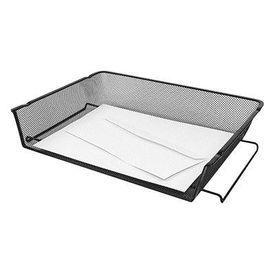 "Winnable Black Mesh Self-Stacking Side-Load Trays 14-1/2""W X 10-1/4""D X 2-5/8""H"