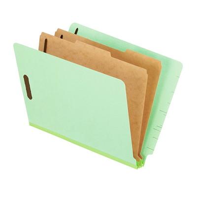 "Pendaflex Pressboard End Tab Classification Shelf File Folders GRN PRSBD 25PT 75% REC.10%PCW 6 MANILA FILING SECT.W/2""CAP."