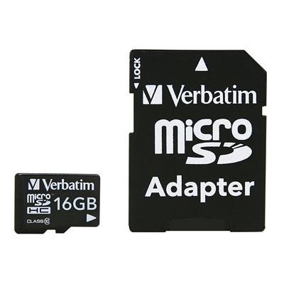 Carte microSDHC avec adaptateur Verbatim CLASSE 10 AVEC ADAPTATEUR