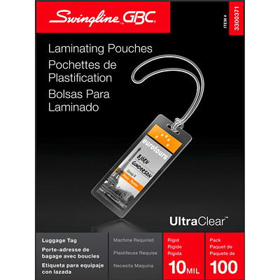 """Swingline GBC Clear LongLife Thermal Luggage-Tag Laminating Pouches LUGGAGE 2 1/2"""" X 4 1/4"""" 100/PK"""
